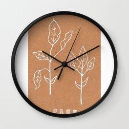 Sage Art Print Design —Herbal Botanical Drawing — Art Print —White Ink Sage Art Print Wall Clock