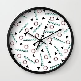 Funky Memphis 80's Party Pattern Blue and Pink Wall Clock