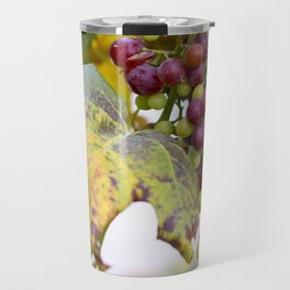 Green and purple grapes on the vine Travel Mug