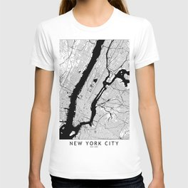 New York City Black and White Map T-shirt