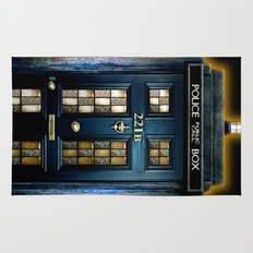 Tardis doctor who Mashup with sherlock holmes 221b door Rug