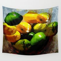 vegetarian Wall Tapestries featuring Lemons and Pears by Judy Palkimas