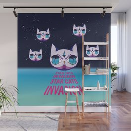 Star Cats Invasion Wall Mural