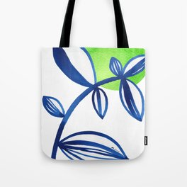 Blue and lime green minimalist leaves Tote Bag