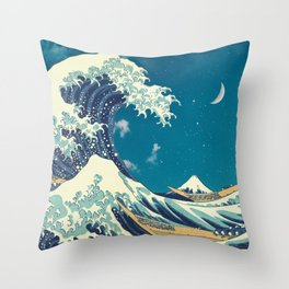Great Wave Off Kanagawa and Starry Sky Throw Pillow