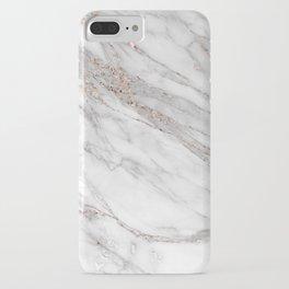 Pink Rose Gold Blush Metallic Glitter Foil on Grey Marble iPhone Case