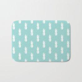 Pineapples - White on Teal Bath Mat