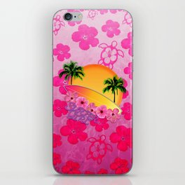 Surfer Girl Pink Tropical Flowers iPhone Skin