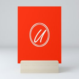 Monogram - Letter U on Scarlet Red Background Mini Art Print