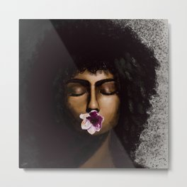 Girl with a Flower Metal Print