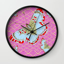 ORIGINAL ORIENTAL STYLE RED-WHITE EXOTIC BUTTERFLY PINK ART Wall Clock