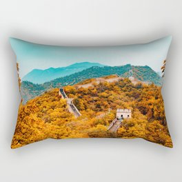 The Great Wall of China in Autumn (Color) Rectangular Pillow