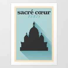 Paris City Flat Design Poster Art Print
