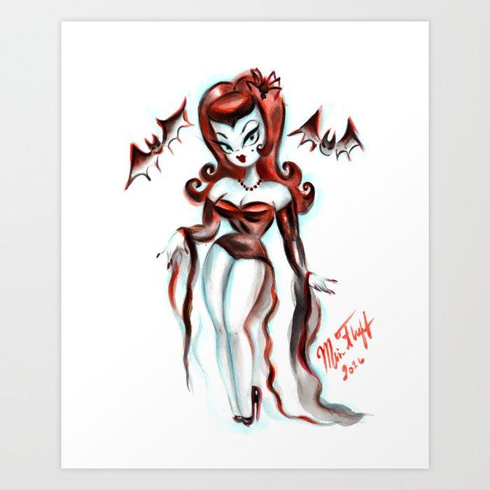 Vampiress with Bats Kunstdrucke