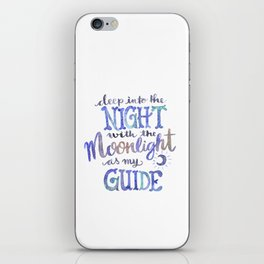 Watercolor Moonlight Lettering iPhone Skin