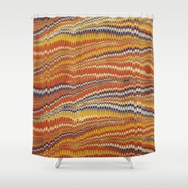 Electrified Ripples Orange Shower Curtain