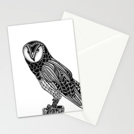 Tangled Barn Owl on White Stationery Cards