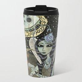 Moth Girl Singing to the Moon Metal Travel Mug