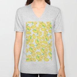 Sunshine yellow orange blue watercolor lemon fruit pattern Unisex V-Neck