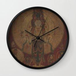 Eleven-Headed, Thousand-Armed Bodhisattva of Compassion 16th Century Classical Tibetan Buddhist Art Wall Clock