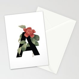 Floral Alphabet Prints: Letter A Stationery Cards