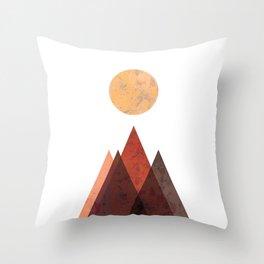 Terracotta Mid Century Mountain Print Throw Pillow