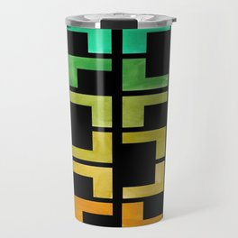 Colorful Watercolor gouache On Black Background Teal Turquoise Yellow Gradient Mid Century Modern Travel Mug