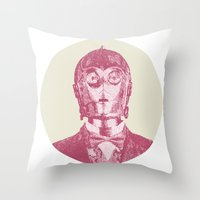 c3po Throw Pillows featuring C3PO by NJ-Illustrations