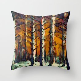 The Woods are Dark and Deep Throw Pillow