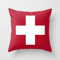 switzerland Throw Pillows featuring Switzerland Flag  by Laura Ruth