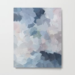 Navy Indigo Gray Blue Blush Pink Lavender Abstract Floral Spring Wall Art Metal Print