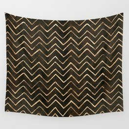 Gold Star Dust Chevron Lines Pattern Wall Tapestry