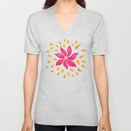 Whimsical Watercolor Floral Pattern In Pink And Purple Unisex V-Neck