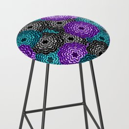Dahlia Multicolored Floral Abstract Pattern Bar Stool
