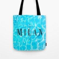 milan Tote Bags featuring Milan by Liz Guhl @lizaguhl