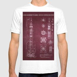 Soyuz Blueprint in High Resolution (red) T-shirt