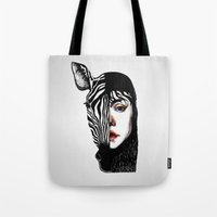 twins Tote Bags featuring Twins by SilviaGancheva