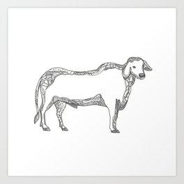 Brahman Bull Side Doodle Side Art Print