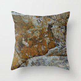 Cornish Headland Cracked Rock Texture with Lichen Throw Pillow