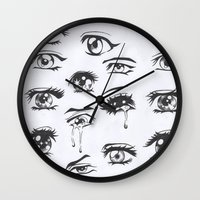 anime Wall Clocks featuring anime eyes by CALM OCEANS™