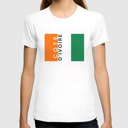 Cote d`Ivoire country flag name text T-shirt
