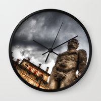 hercules Wall Clocks featuring Hercules' statue by Roberto Pagani