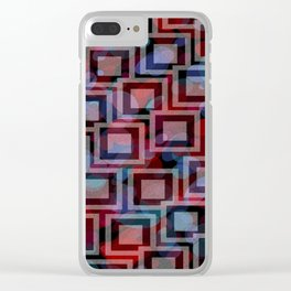 Black and White Squares Pattern 01 Clear iPhone Case