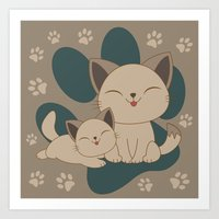 mew Art Prints featuring Mama, Mew...Mew... by HK Chik