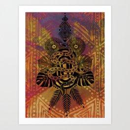 tropical tattoo snake Art Print
