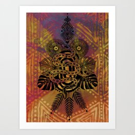 tropical tattoo snake Art Print
