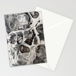 """Black, Silver and White Fluid Painting - """"Obsidian"""" Rock Stationery Cards"""