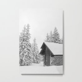 Winter Log Cabin In The Forest Metal Print