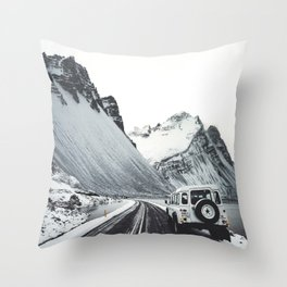 on the road in iceland Throw Pillow
