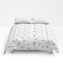 Abstract hand painted black white watercolor crosses Comforters